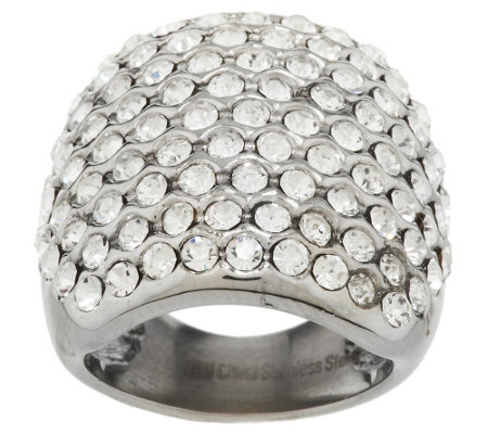Stainless Steel Bold Crystal Cocktail Ring