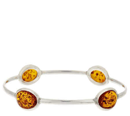Baltic Amber Small Slip-On Sterling Bangle