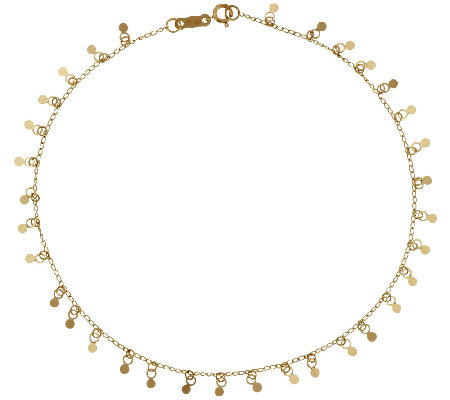 "14K Gold 10"" Polished Multi-circle Dangle Ankle Bracelet, 1.5g"