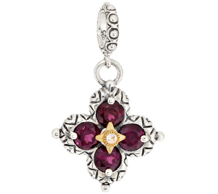 Barbara Bixby Sterling & 18K Gemstone Flower Charm