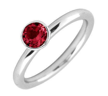 Simply Stacks Sterling 5mm Round Rhod. Garnet Solitaire Ring
