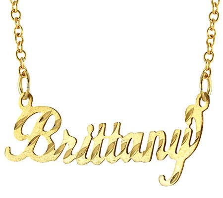14K Gold DiamondCut Name Plate Necklace Page 1 QVCcom