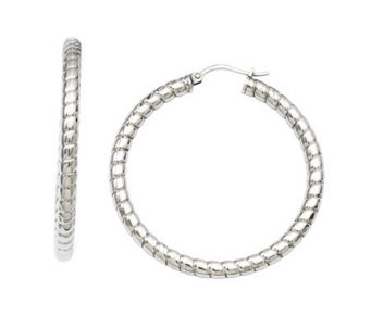Stainless Steel Ribbed Textured Hoop Earrings - J308348