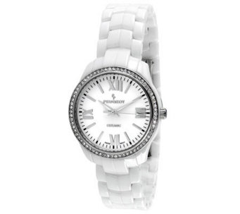 Peugeot Women's Swiss Ceramic Crystal White Dial Watch - J308648