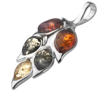 Baltic Amber Sterling Multicolored Leaf DesignPendant - J308948