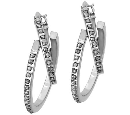 Diamond Fascination Sterling Double-Hoop Earrings