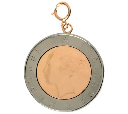 500 Lire Coin Bicolor Charm, 14K Rose Gold