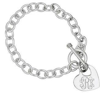 Sterling Personalized Cutout Heart Charm Link Bracelet - J310948
