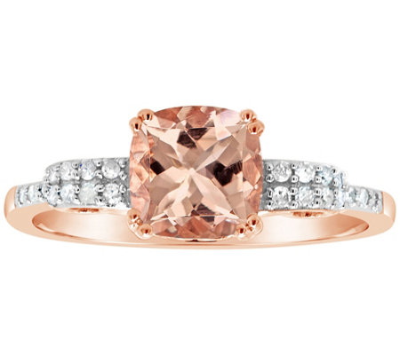 1.00 cttw Morganite & 1/10 cttw Diamond Ring, 14K Plated