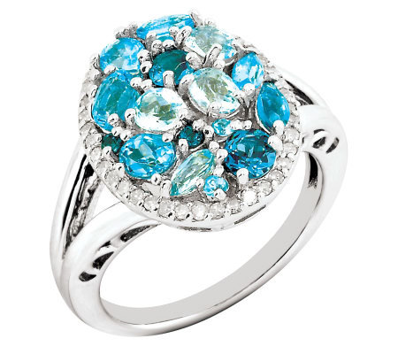 1.60ct tw Blue Topaz & 1/5ct tw Diamond Sterling Oval Ring