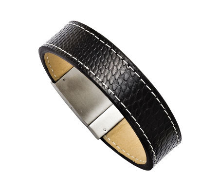 Forza Men's Stainless Steel Black Leather Textured Bracelet
