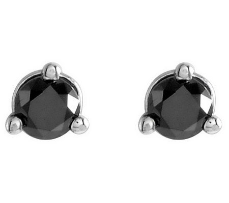 Black Diamond Stud Earrings, 14K Gold, 1/2 cttw, by Affinity