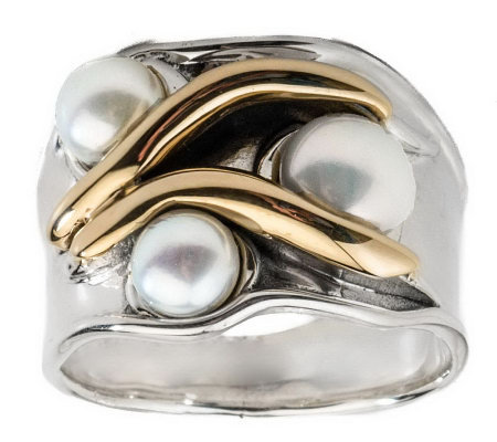 Hagit Gorali Sterling 14K Gold Cultured Freshwater Pearl Ring
