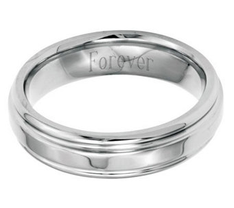 Stainless Steel 6mm Ridged Edge Polished Engravable Ring - J314248