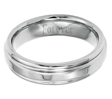 Stainless Steel 6mm Ridged Edge Polished Engravable Ring