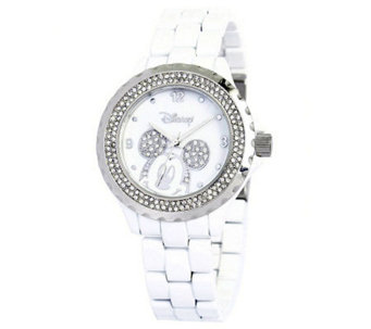 Disney Women's Mickey White Enamel Watch - J315548