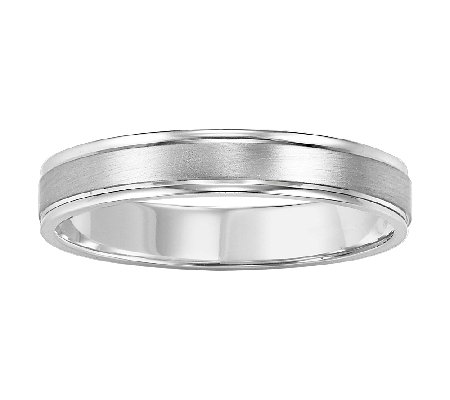 4.0mm Men's Brushed Finish Wedding, 14K White Gold