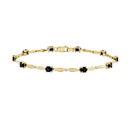 "7"" Oval Gemstone w/ Diamond Accent Tennis Brace let, 14K Gold"