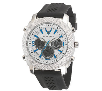 Wrist Armor Men's U.S. Air Force C21 White, Blue, Black Watch - J316348