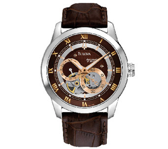 Bulova Men's Automatic Brown Leather Strap Watch - J316448