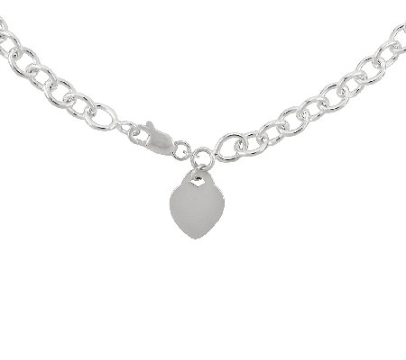 "Sterling 18"" Polished Heart Charm Oval Link Necklace"