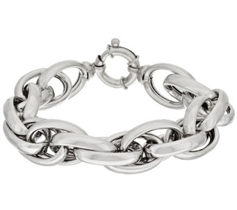 "Vicenza Silver Sterling 8"" Polished Triple Rolo Link Bracelet, 52.2g - J317648"