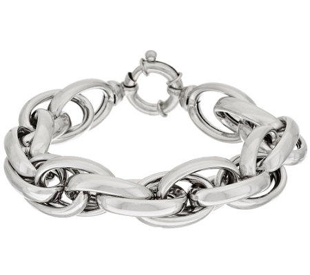 "Vicenza Silver Sterling 8"" Polished Triple Rolo Link Bracelet, 52.2g"
