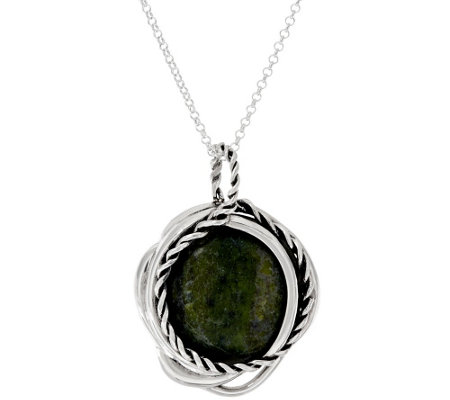 Connemara Marble Twisted Sterling Silver Pendant