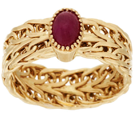 14K Gold Woven Gemstone Cabochon Band Ring