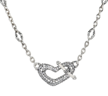 "Scott Kay 1.70 cttw Diamonique Pave Heart 18"" Adj. Bolo Necklace"
