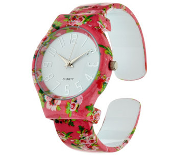 Gossip Floral Print Hinged Bangle Watch w/ Gift Box - J321448