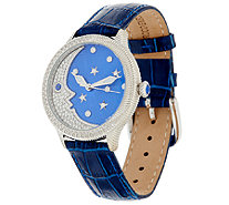 Judith Ripka Stainless Steel & Diamonique Blue Moon Watch - J321548