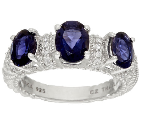 Judith Ripka Sterling 2.00 cttw Triple Iolite Ring