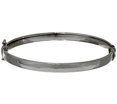 Sterling Silver Polished Hinged Bangle by Silver Style