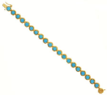 """As Is"" Sleeping Beauty Turquoise Sterl/18KPlated 6-3/4"" Bracelet"