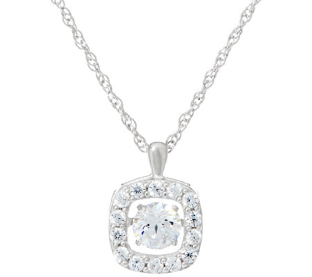 Diamonique Twinkle Halo Cushion Pendant, Platinum Clad