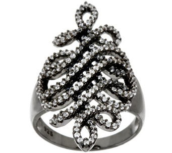 """As Is"" Vicenza Silver Sterling 9/10 cttw Diamonique Swirl Ring - J327048"