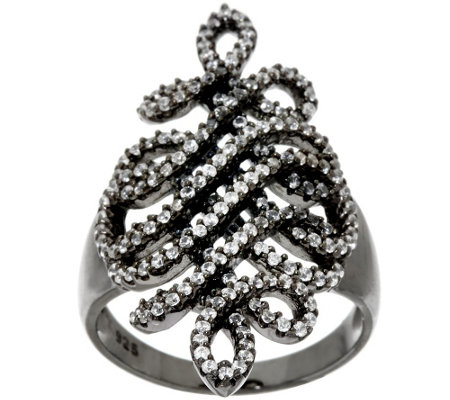 """As Is"" Italian Silver Sterling 9/10 cttw Diamonique Swirl Ring"