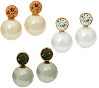 Joan Rivers Set/3 Simulated Pearl & Crystal Earrings Clip or Pierced - J327548