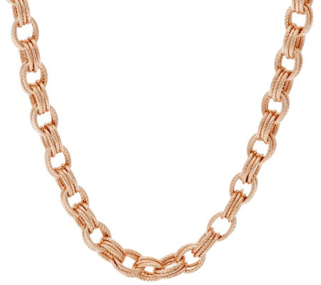 """As Is"" Bronze 16"" Textured Triple Rolo Link Necklace byBronzo Italia"