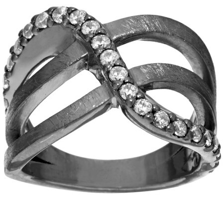 """As Is"" Italian Silver Sterling Crystal Design Satin Finish Ring"