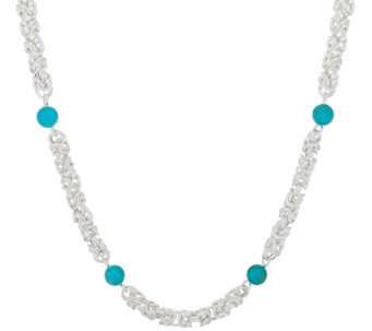 """As Is""Sterling 18"" Byzantine & Turquoise Necklace by Silver Style - J329048"