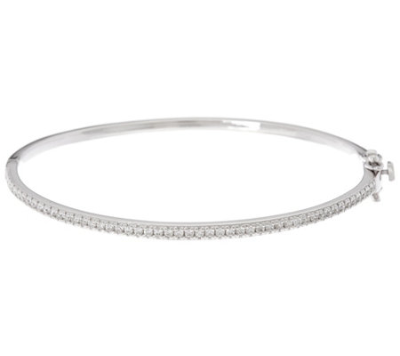 Diamonique Oval Hinged Bangle, Sterling