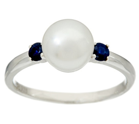 Honora Cultured Pearl 8.0mm & Gemstone Sterling Ring