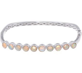 Jane Taylor Ethiopian Opal Sterling Silver Hinged Bangle - J330948