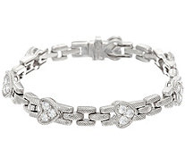 "Judith Ripka Sterling Diamonique Heart 6-3/4"" Bracelet - J331648"