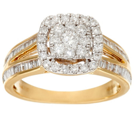 """As Is"" Cluster Halo Design Diamond Ring, 14K 1.00 cttw by Affinity"
