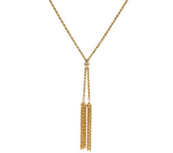 "14K Gold 18"" Double Tassel Rope Necklace, 3.9g - J332248"
