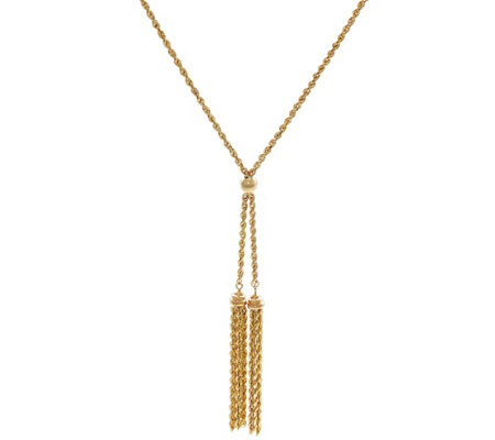 "14K Gold 18"" Double Tassel Rope Necklace, 3.9g"