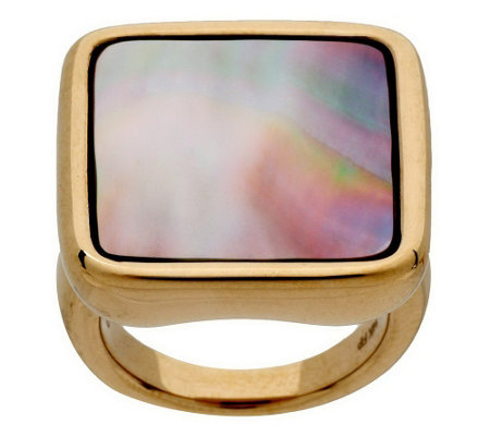 """As Is"" Bold Square Mother-of-Pearl Ring 14K Gold"